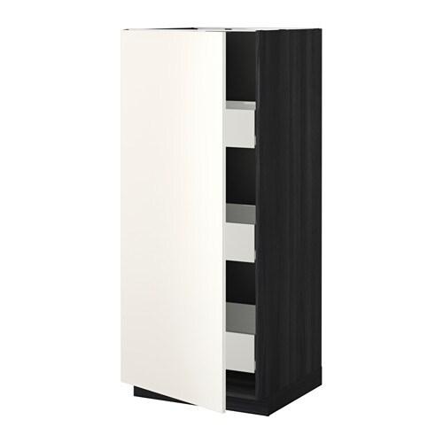 metod f rvara l ment armoire avec tiroirs effet bois noir veddinge blanc ikea. Black Bedroom Furniture Sets. Home Design Ideas