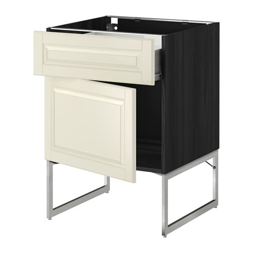 Metod f rvara l ment bas avec tiroir porte effet bois noir bodbyn blanc - Element bas cuisine ikea ...