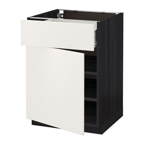 metod f rvara l ment bas avec tiroir porte effet bois noir veddinge blanc 60x60 cm ikea. Black Bedroom Furniture Sets. Home Design Ideas