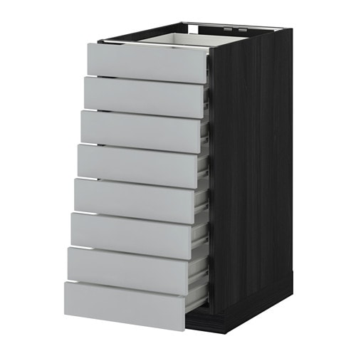 Metod F Rvara L Ment Bas 8faces 8tiroirs Bas Effet Bois Noir Veddinge Gris 40x60 Cm Ikea