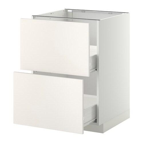metod f rvara l ment bas 2faces 2tiroirs moyens blanc veddinge blanc 60x60 cm ikea. Black Bedroom Furniture Sets. Home Design Ideas
