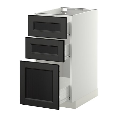 metod f rvara l ment bas 3 tiroirs blanc laxarby brun noir 40x60 cm ikea. Black Bedroom Furniture Sets. Home Design Ideas