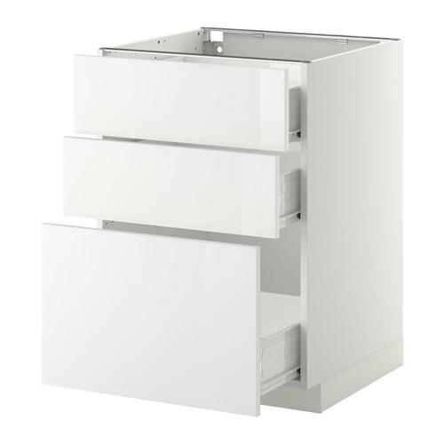 metod f rvara l ment bas 3 tiroirs blanc ringhult brillant blanc 60x60 cm ikea. Black Bedroom Furniture Sets. Home Design Ideas