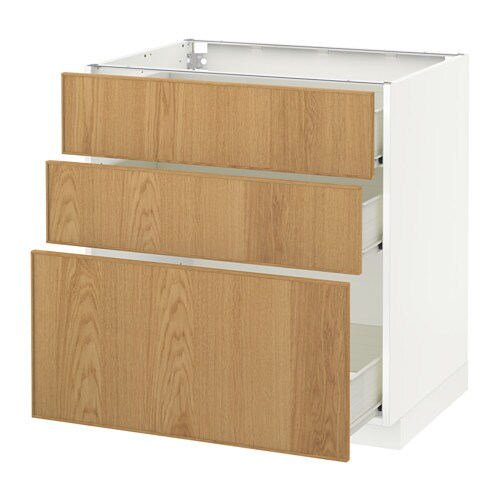 Metod f rvara l ment bas 3 tiroirs blanc ekestad ch ne 80x60 cm ikea - Element bas cuisine ikea ...