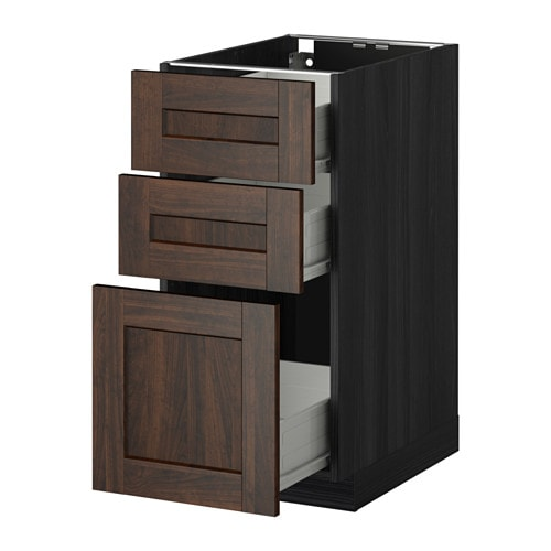 metod f rvara l ment bas 3 tiroirs effet bois noir edserum effet bois brun 40x60 cm ikea. Black Bedroom Furniture Sets. Home Design Ideas