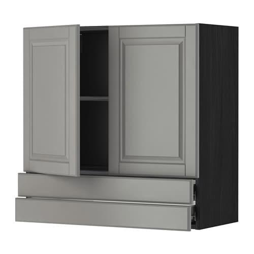 metod f rvara l ment mural 2portes 2tiroirs effet bois noir bodbyn gris 80x80 cm ikea. Black Bedroom Furniture Sets. Home Design Ideas