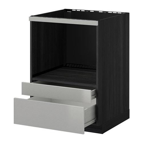 metod f rvara meuble pour micro combi tiroirs effet bois noir grevsta acier inoxydable ikea. Black Bedroom Furniture Sets. Home Design Ideas