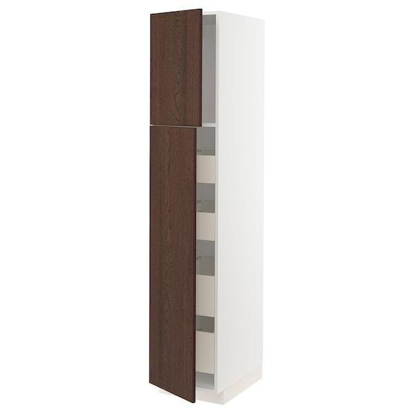 METOD / MAXIMERA Armoire 2 portes/4 tiroirs, blanc/Sinarp brun, 40x60x200 cm