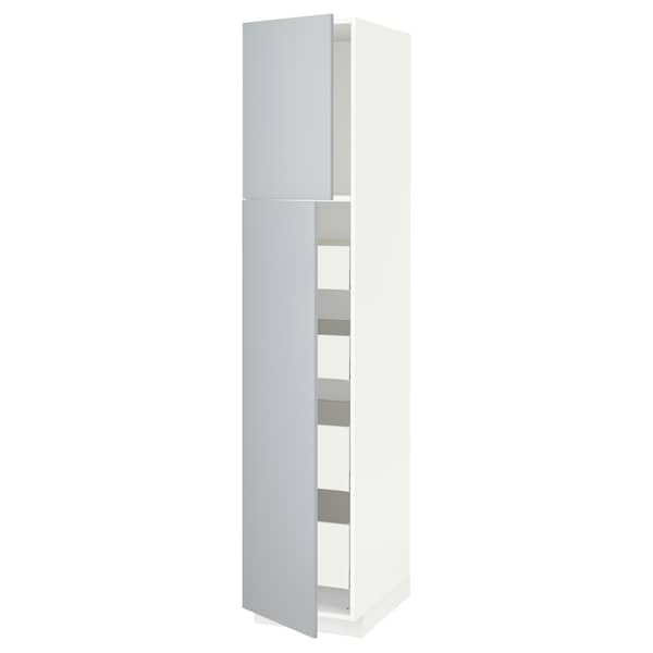 METOD / MAXIMERA Armoire 2 portes/4 tiroirs, blanc/Veddinge gris, 40x60x200 cm