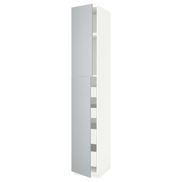 METOD / MAXIMERA Armoire 2 portes/4 tiroirs, blanc/Veddinge gris, 40x60x240 cm