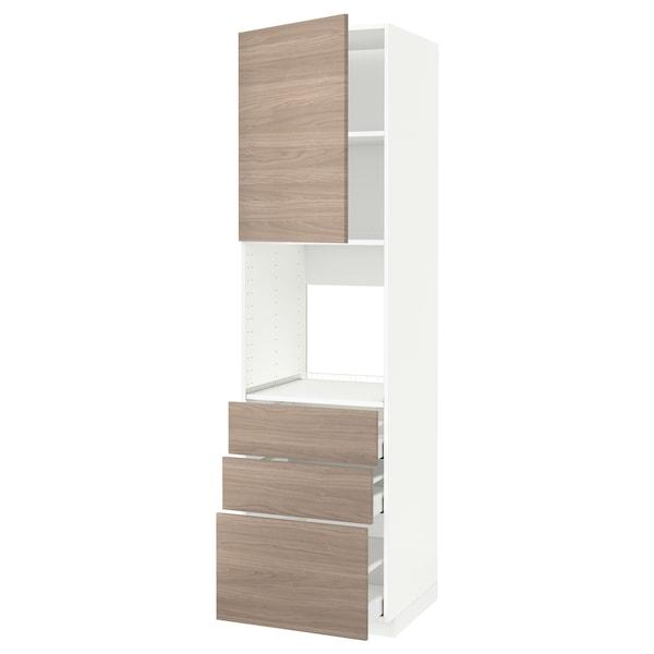 METOD / MAXIMERA Armoire four+porte/3 tiroirs, blanc/Brokhult gris clair, 60x60x220 cm