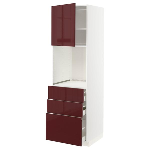 METOD / MAXIMERA Armoire four+porte/3 tiroirs, blanc Kallarp/brillant brun-rouge foncé, 60x60x200 cm