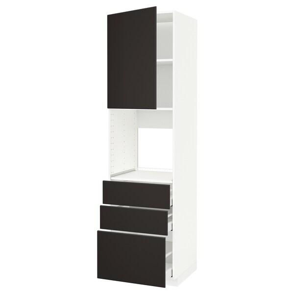 METOD / MAXIMERA Armoire four+porte/3 tiroirs, blanc/Kungsbacka anthracite, 60x60x220 cm