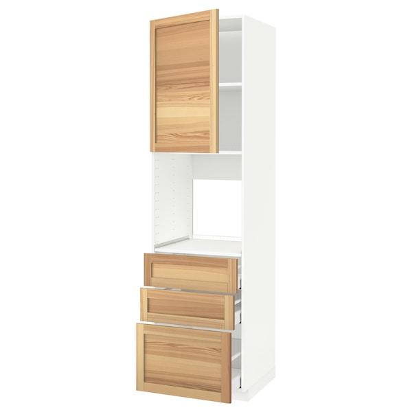 METOD / MAXIMERA Armoire four+porte/3 tiroirs, blanc/Torhamn frêne, 60x60x220 cm
