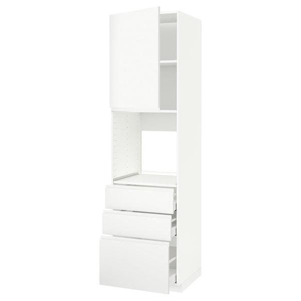 METOD / MAXIMERA Armoire four+porte/3 tiroirs, blanc/Voxtorp blanc mat, 60x60x220 cm