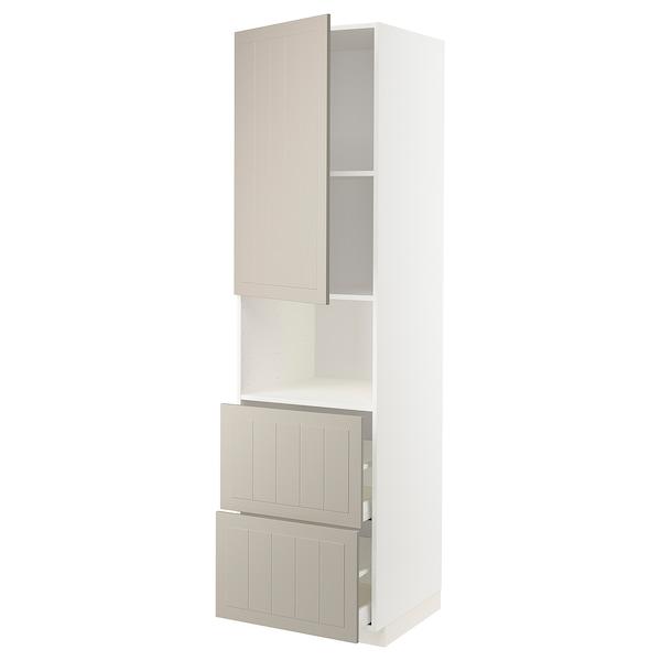 METOD / MAXIMERA Armoire micro-ondes av porte/2 tir, blanc/Stensund beige, 60x60x220 cm