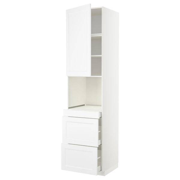 METOD / MAXIMERA Armoire micro-ondes av porte/3 tir, blanc/Axstad blanc mat, 60x60x240 cm