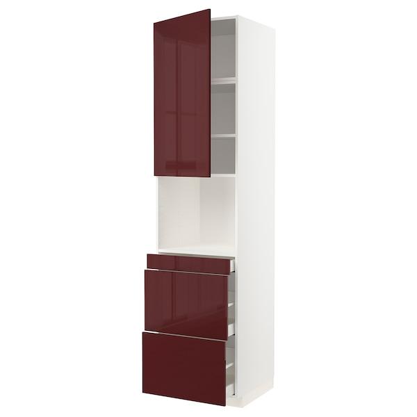 METOD / MAXIMERA Armoire micro-ondes av porte/3 tir, blanc Kallarp/brillant brun-rouge foncé, 60x60x240 cm