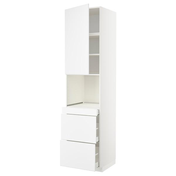 METOD / MAXIMERA Armoire micro-ondes av porte/3 tir, blanc/Kungsbacka blanc mat, 60x60x240 cm
