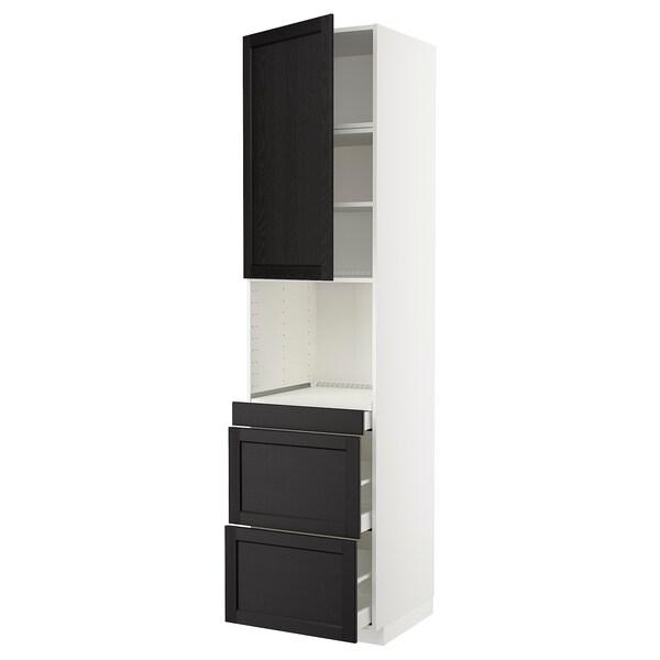 METOD / MAXIMERA Armoire micro-ondes av porte/3 tir, blanc/Lerhyttan teinté noir, 60x60x240 cm