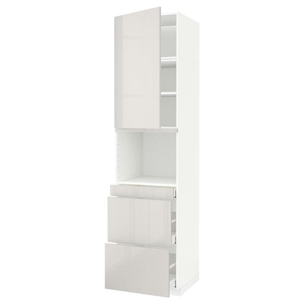 METOD / MAXIMERA Armoire micro-ondes av porte/3 tir, blanc/Ringhult gris clair, 60x60x240 cm