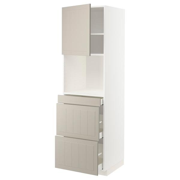 METOD / MAXIMERA Armoire micro-ondes av porte/3 tir, blanc/Stensund beige, 60x60x200 cm