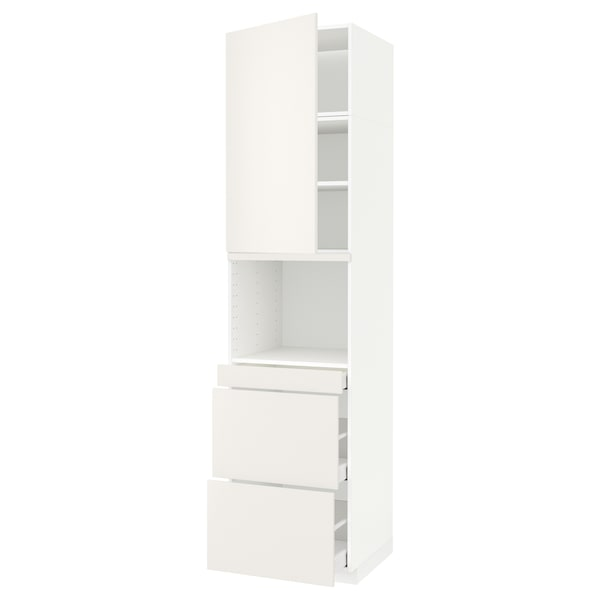 METOD / MAXIMERA Armoire micro-ondes av porte/3 tir, blanc/Veddinge blanc, 60x60x240 cm