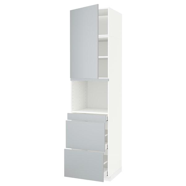 METOD / MAXIMERA Armoire micro-ondes av porte/3 tir, blanc/Veddinge gris, 60x60x240 cm