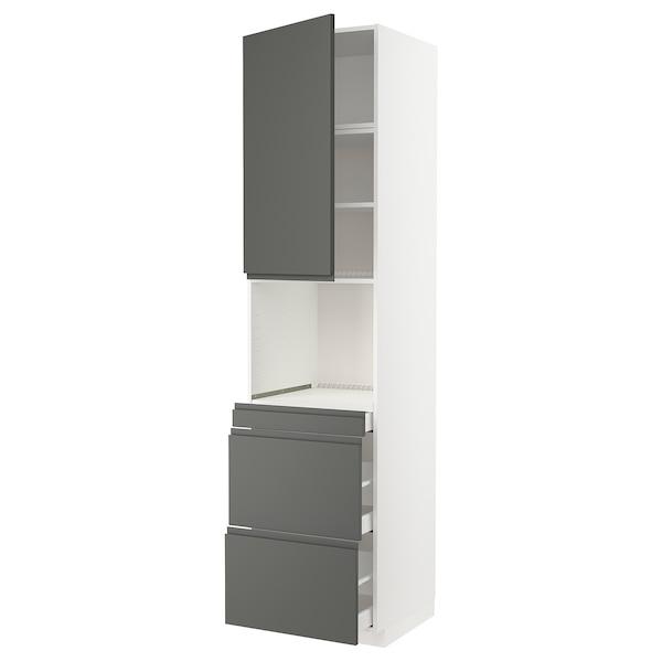 METOD / MAXIMERA Armoire micro-ondes av porte/3 tir, blanc/Voxtorp gris foncé, 60x60x240 cm