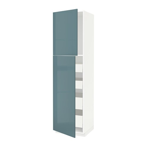 metod maximera armoire 2 portes 4 tiroirs blanc kallarp brillant gris turquoise 60x60x220. Black Bedroom Furniture Sets. Home Design Ideas