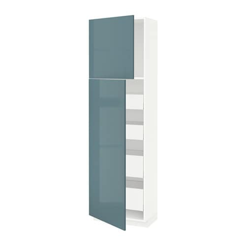 metod maximera armoire 2 portes 4 tiroirs blanc kallarp brillant gris turquoise 60x37x200. Black Bedroom Furniture Sets. Home Design Ideas
