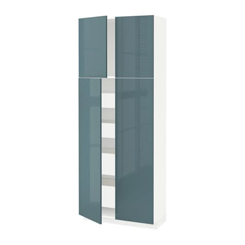 metod maximera armoire 4 portes 4 tirois blanc kallarp brillant gris turquoise 80x37x200. Black Bedroom Furniture Sets. Home Design Ideas