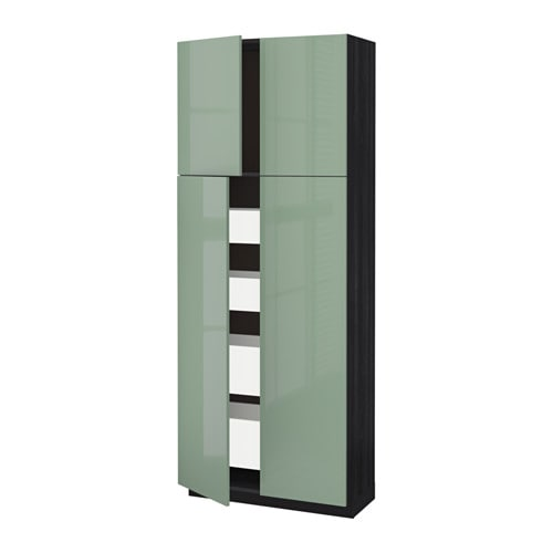 metod maximera armoire 4 portes 4 tirois effet bois noir kallarp brillant vert clair. Black Bedroom Furniture Sets. Home Design Ideas