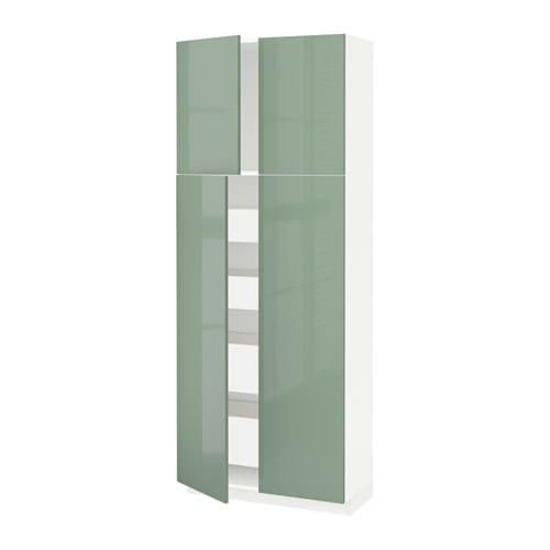 metod maximera armoire 4 portes 4 tirois blanc kallarp brillant vert clair 80x37x200 cm. Black Bedroom Furniture Sets. Home Design Ideas