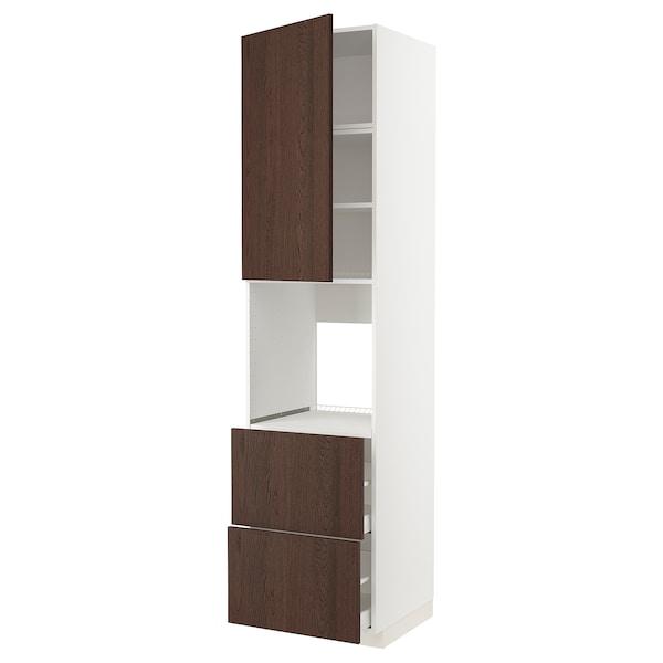 METOD / MAXIMERA Armoire pour four+porte/2 tiroirs, blanc/Sinarp brun, 60x60x240 cm