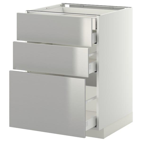 METOD / MAXIMERA élt bas 3faces/2tir bas+1moy+1haut blanc/Grevsta acier inoxydable 60.0 cm 61.8 cm 88.0 cm 60.0 cm 80.0 cm