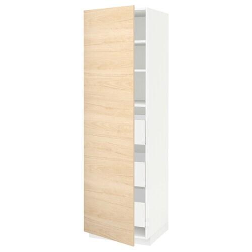Metod Maximera Element Armoire Avec Tiroirs Blanc Askersund Effet Frene Clair 60x60x200 Cm Ikea