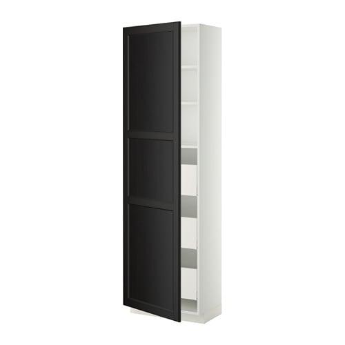 metod maximera l ment armoire avec tiroirs blanc laxarby brun noir 60x37x200 cm ikea. Black Bedroom Furniture Sets. Home Design Ideas