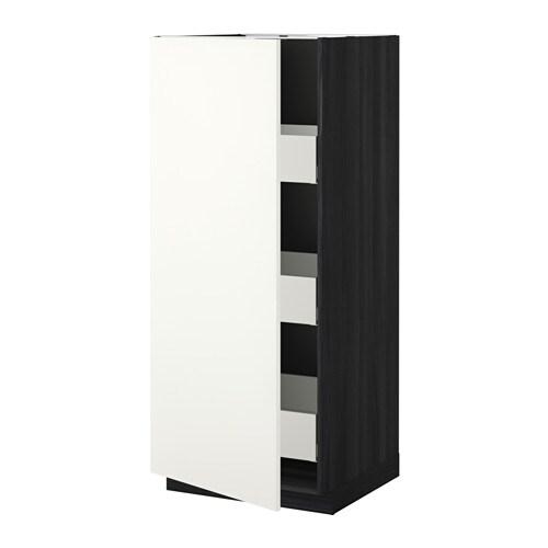 metod maximera l ment armoire avec tiroirs effet bois noir h ggeby blanc 60x60x140 cm ikea. Black Bedroom Furniture Sets. Home Design Ideas