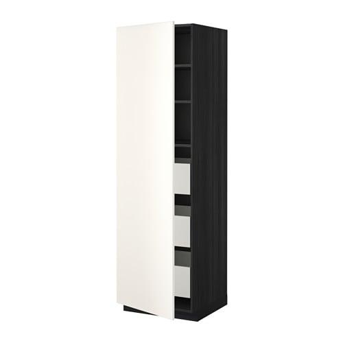 metod maximera l ment armoire avec tiroirs effet bois noir veddinge blanc 60x60x200 cm ikea. Black Bedroom Furniture Sets. Home Design Ideas