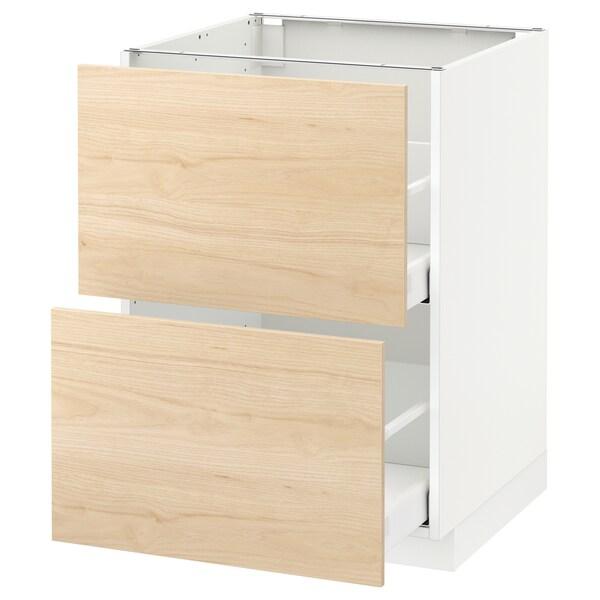 METOD / MAXIMERA Élément bas 2 faces/2 tiroirs hauts, blanc/Askersund effet frêne clair, 60x60 cm