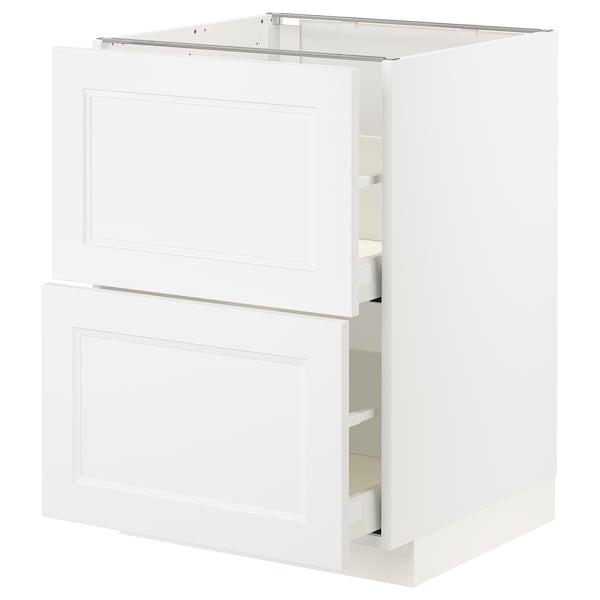 METOD / MAXIMERA Élément bas 2 faces/2 tiroirs hauts, blanc/Axstad blanc mat, 60x60 cm