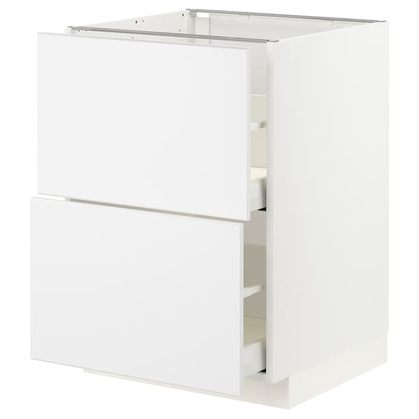 METOD / MAXIMERA Élément bas 2 faces/2 tiroirs hauts, blanc/Kungsbacka blanc mat, 60x60 cm