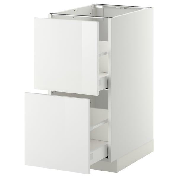 METOD / MAXIMERA Élément bas 2 faces/2 tiroirs hauts, blanc/Ringhult blanc, 40x60 cm
