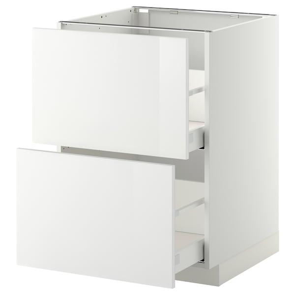 METOD / MAXIMERA Élément bas 2 faces/2 tiroirs hauts, blanc/Ringhult blanc, 60x60 cm