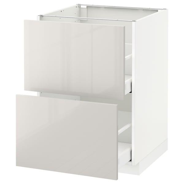 METOD / MAXIMERA Élément bas 2 faces/2 tiroirs hauts, blanc/Ringhult gris clair, 60x60 cm