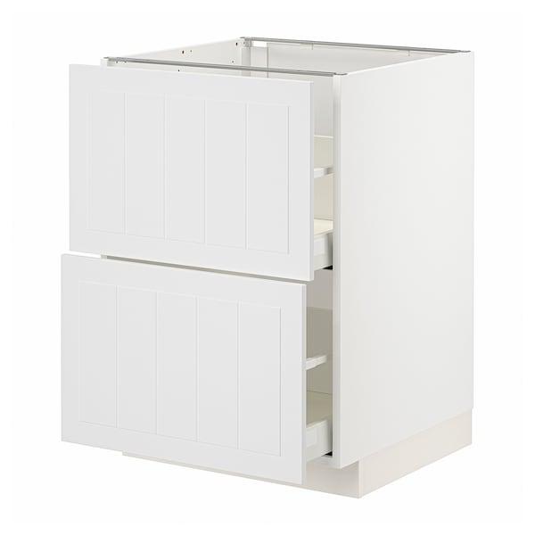 METOD / MAXIMERA Élément bas 2 faces/2 tiroirs hauts, blanc/Stensund blanc, 60x60 cm