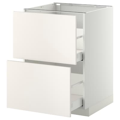 METOD / MAXIMERA Élément bas 2 faces/2 tiroirs hauts, blanc/Veddinge blanc, 60x60 cm