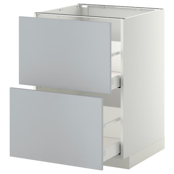 METOD / MAXIMERA Élément bas 2 faces/2 tiroirs hauts, blanc/Veddinge gris, 60x60 cm