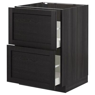 METOD / MAXIMERA Élément bas 2 faces/2 tiroirs hauts, noir/Lerhyttan teinté noir, 60x60 cm
